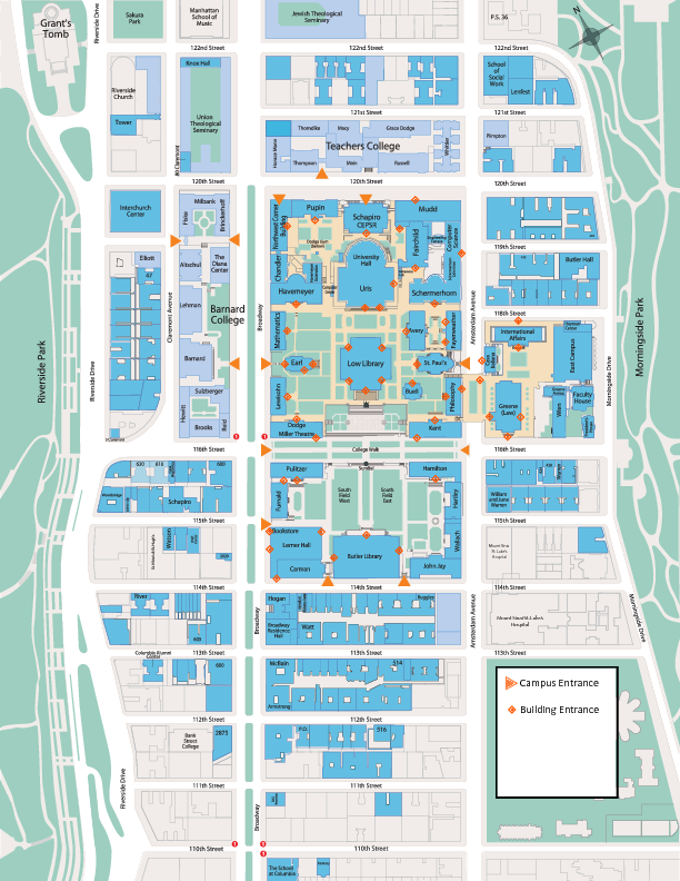 Columbia Morningside campus map